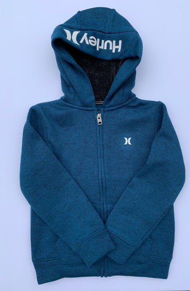 Hurley - FLEECE LINED ZIP FRONT KNIT HOODIE (BLUE FORCE) Sizes 5 & 7