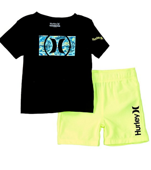 Hurley - TEE SHIRT & BOARDSHORT SET (VOLT GLOW) Sizes 12-24 Mths