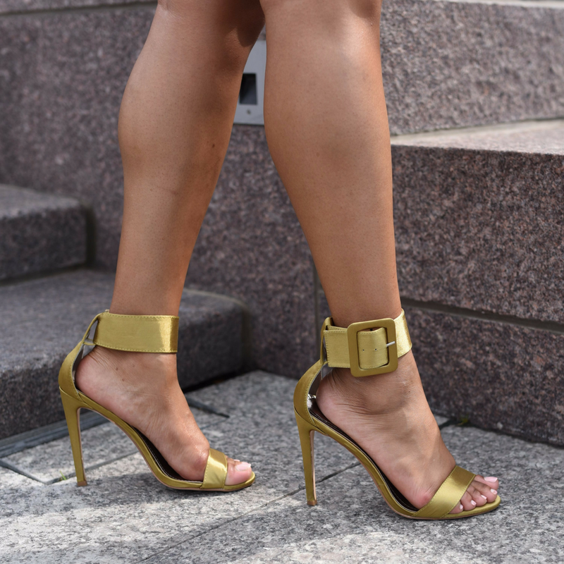 green ankle heels