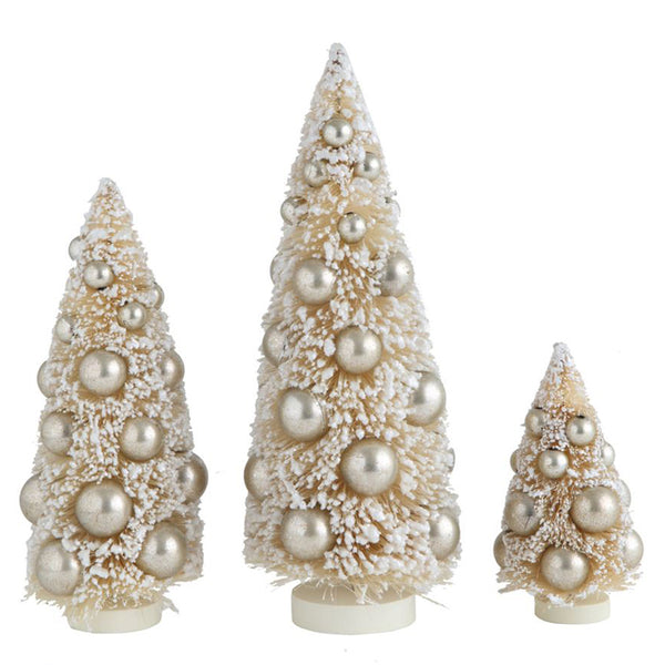 best sneakers 00567 82145 Bottle Brush Christmas Trees with Metallic Balls, Set of 3