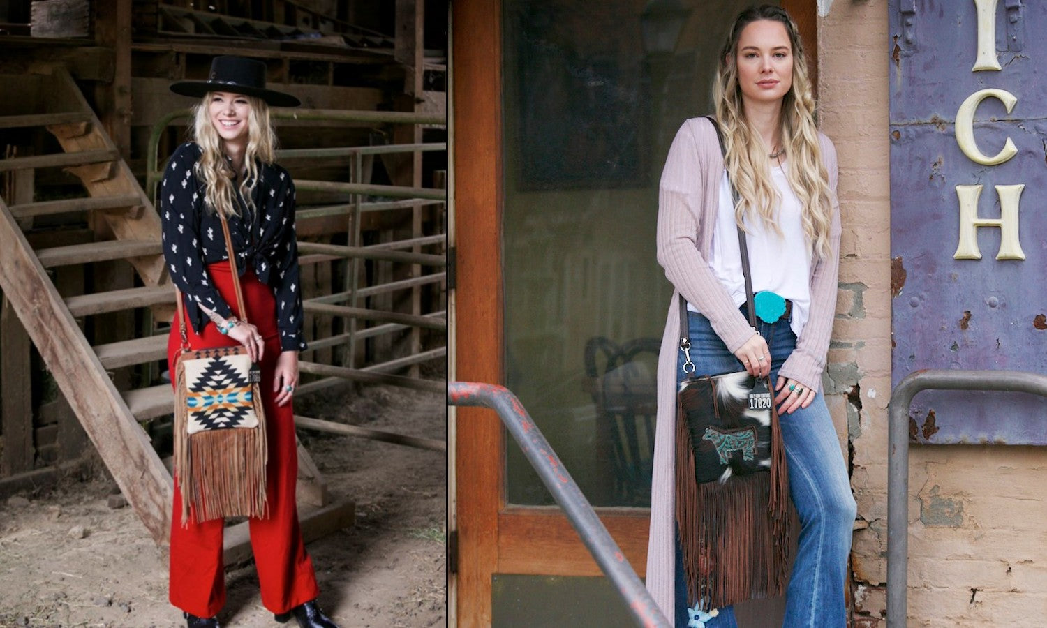 women in western boho fashion with shoulder bag made from cowhide and leather fringe