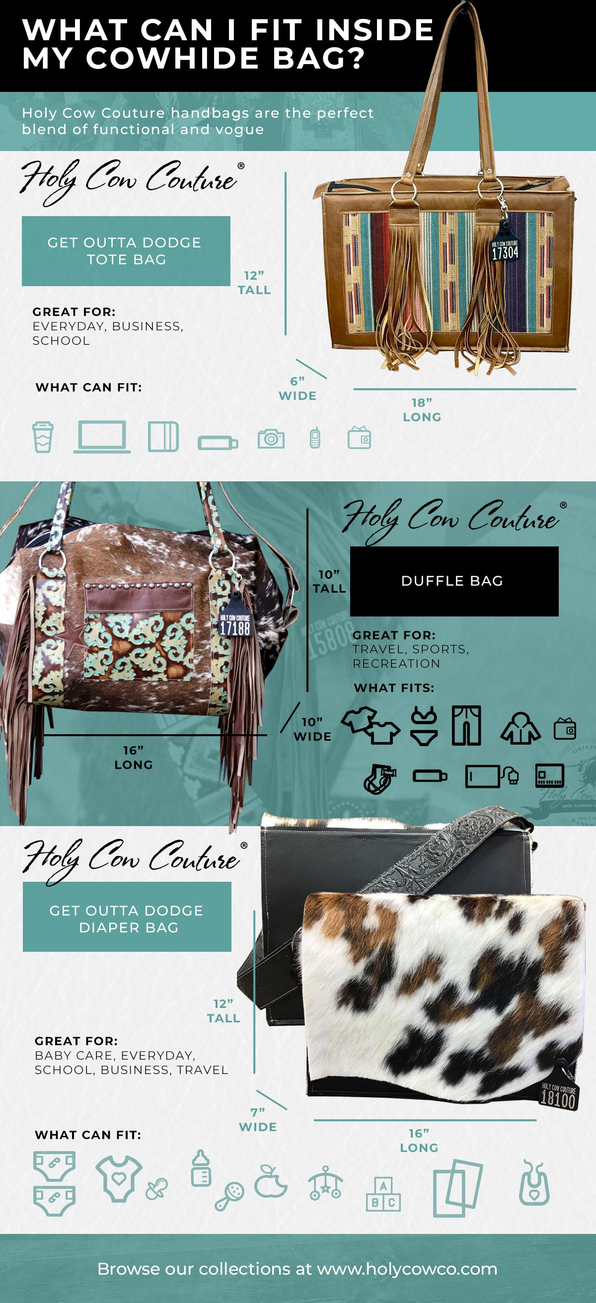 what can fit in cowhide bag infographic