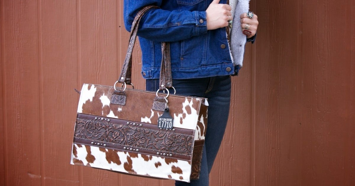 denim on denim with cowhide bag