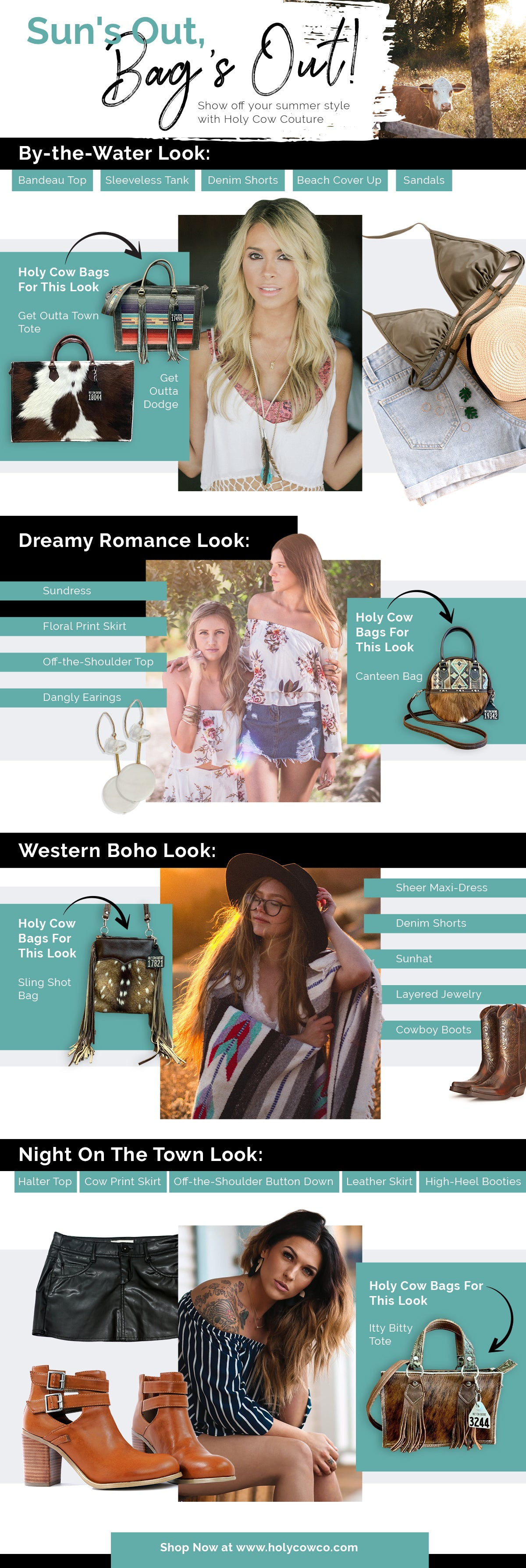 summer look book pairing summer outfits with cowhide bags
