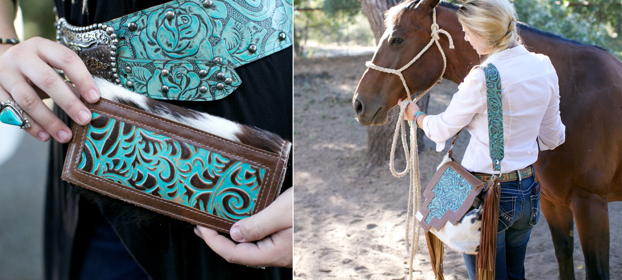 turquoise wallet and leather cowhide shoulder bag