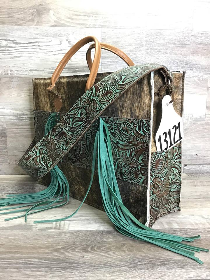 Hybrid Get Outta Town with Fringe and Studded Embossed leather on the front with matching shoulder strap - Leather handles # 13121- sk