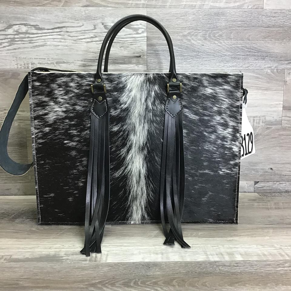 Hybrid Get Outta Town - Striking White Center Stripe - Fringed Handles and Embossed Leather Shoulder Strap - # 13129 - sk