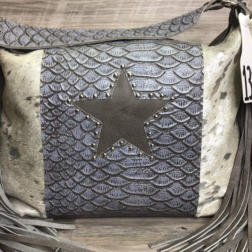 Designer - made with studded Leather Star on Embossed leather on the front - Conceal Carry - Double Fringe #13139 sk