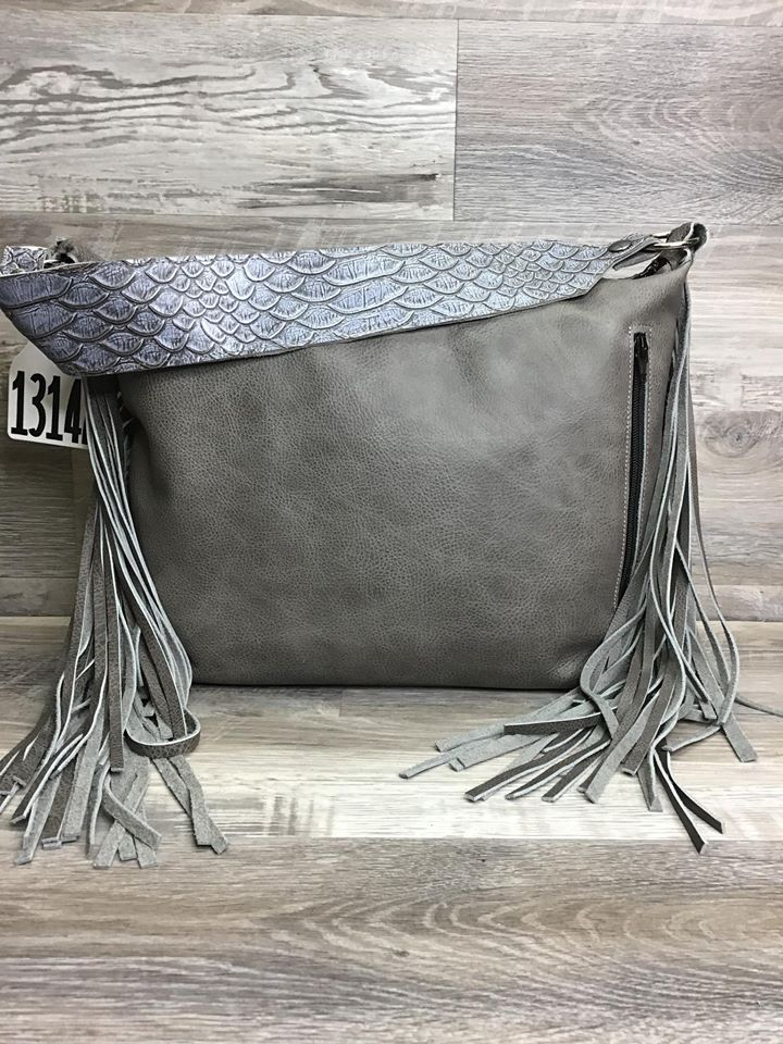 Designer - Double Fringe - made with studded embossed leather on the front - conceal carry #13147 sk