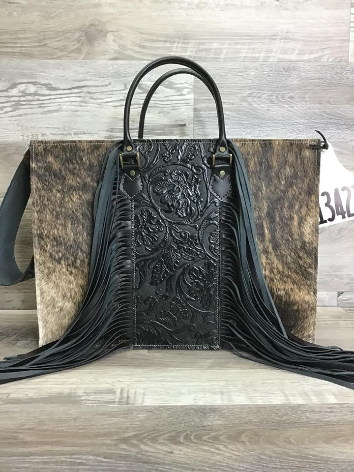 Hybrid Get Outta Town with Fringe Embossed leather on the front with matching shoulder strap - Leather handles # 13422- sk