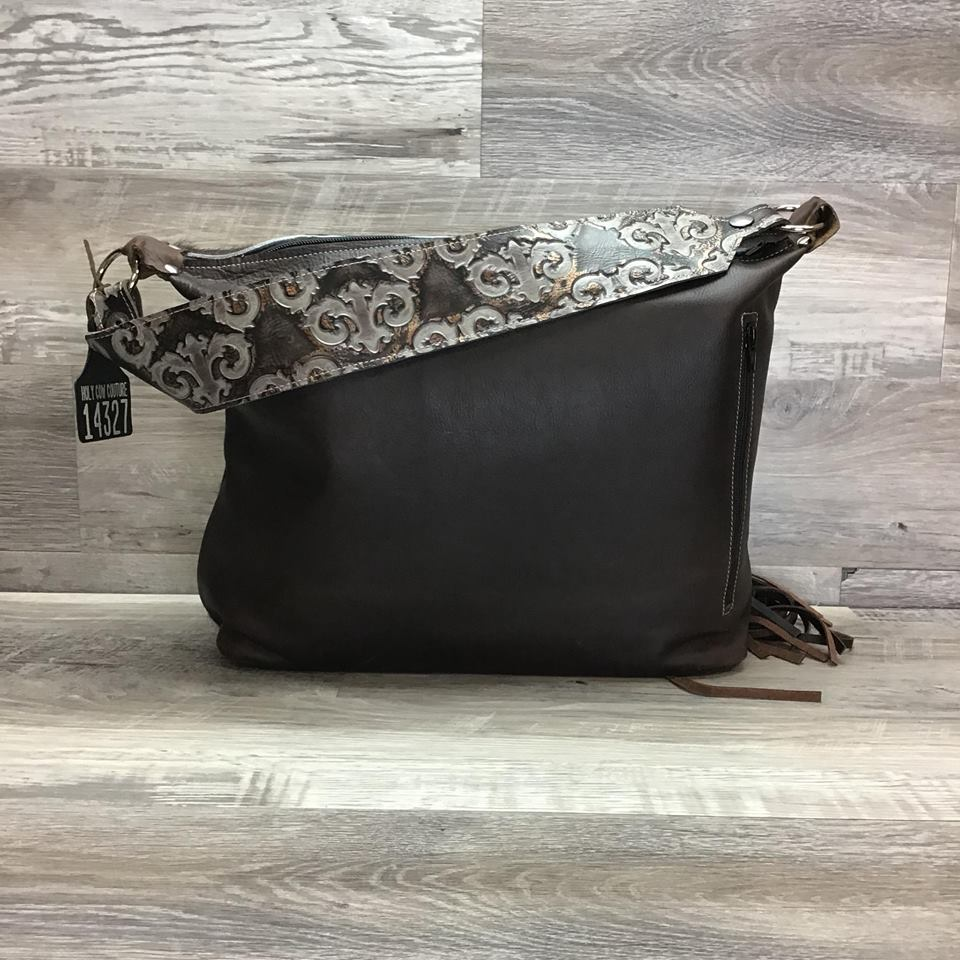 Designer - embossed leather on the front with fringe flowing off each side - matching embossed leather shoulder strap - conceal carry #14327 sk