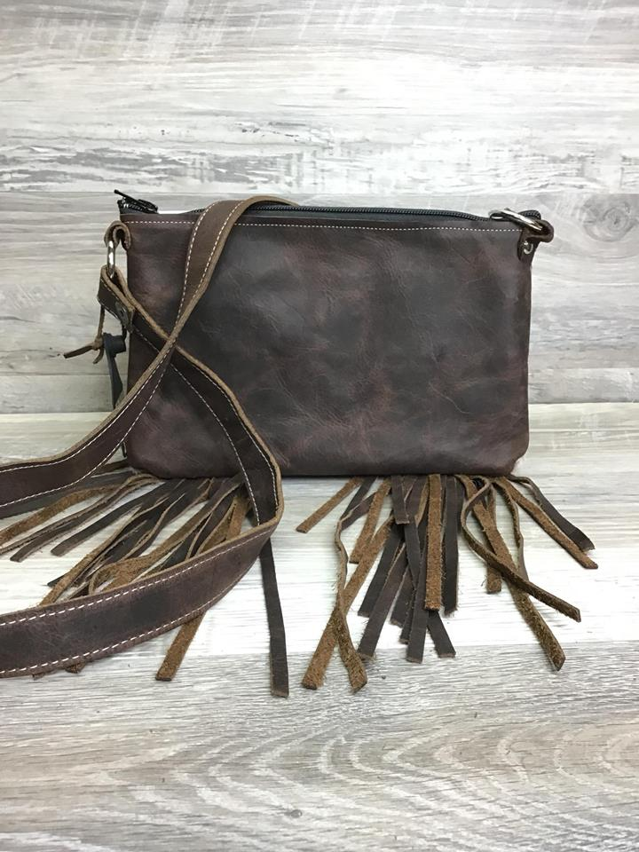 Ranch Hand - Fringe and studded embossed leather on front # 14356- sk