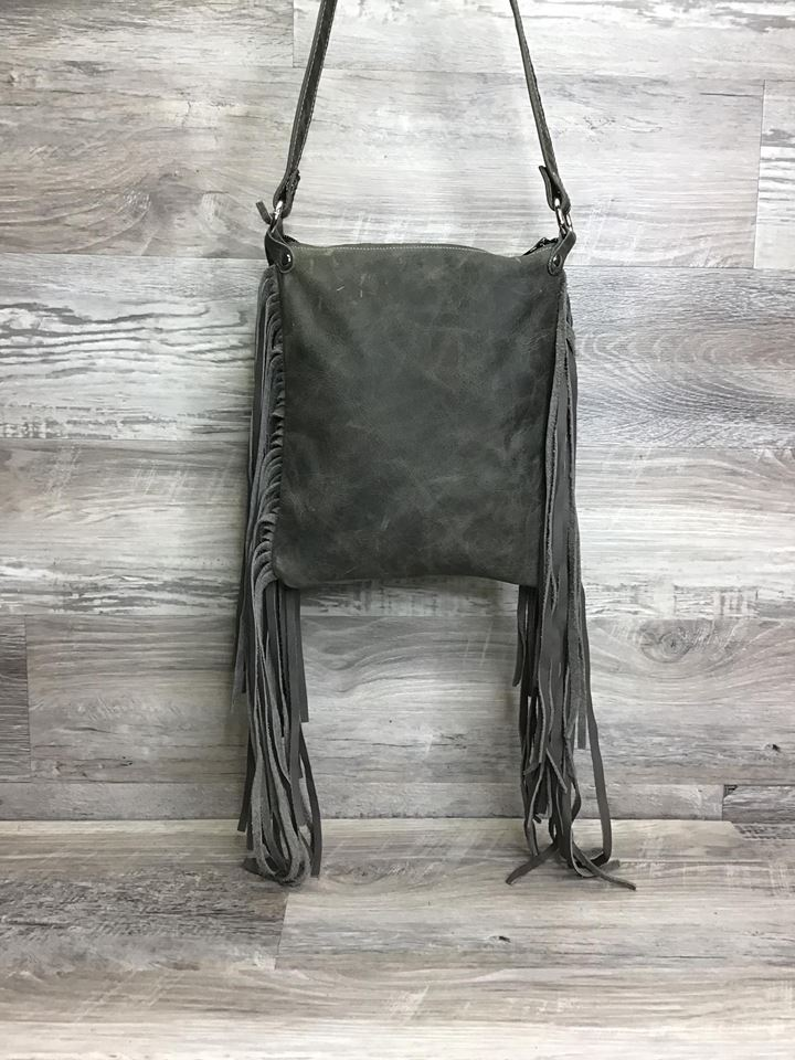 Sling Shot - Double Fringe and studded embossed leather - # 14358 - sk