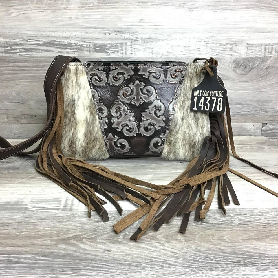 Ranch Hand - Two Sided Fringe, embossed leather on front # 14378 - sk