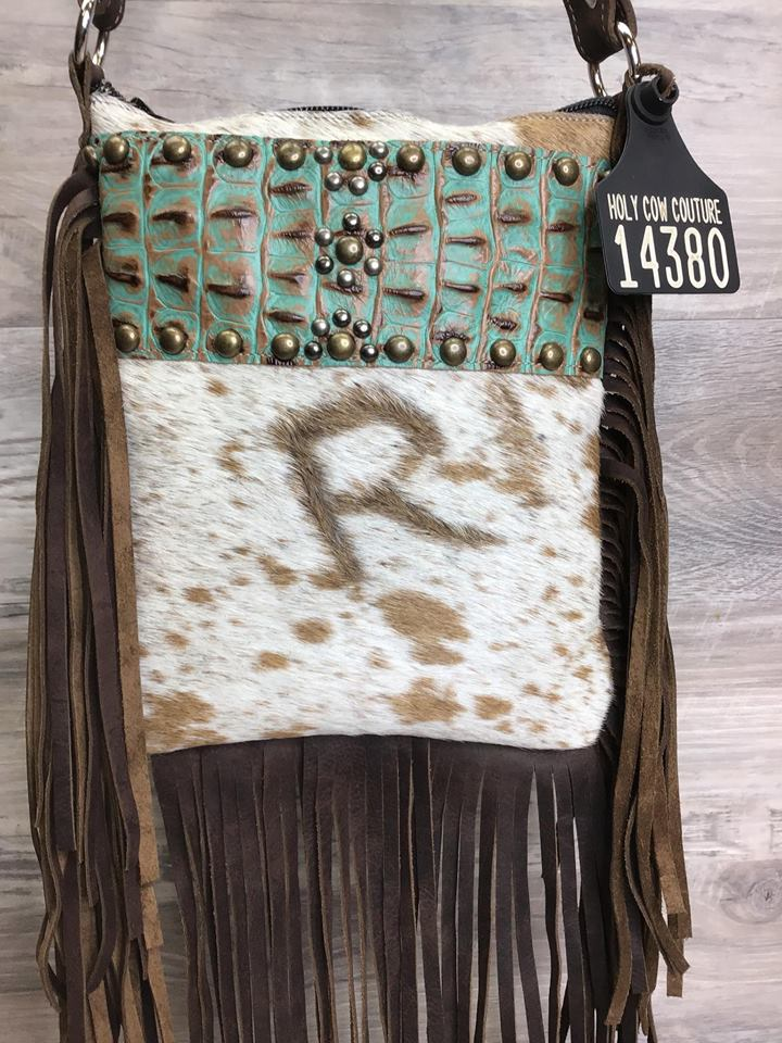 Sling Shot - Triple Fringe and studded embossed leather - Authentic Branded R in Hide # 14380 - sk