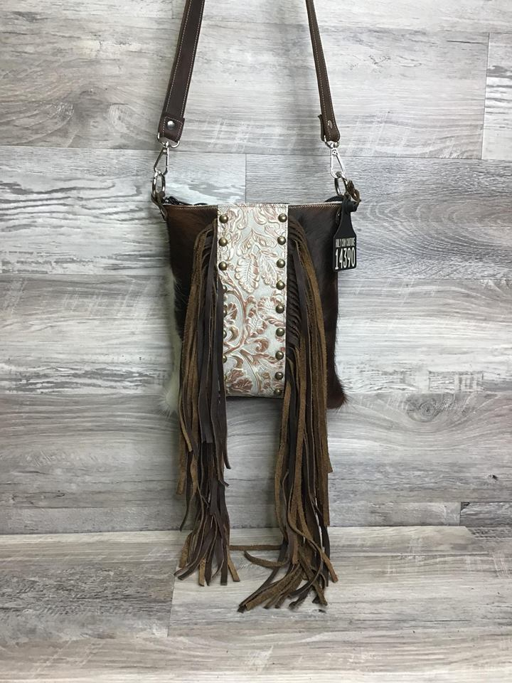 Sling Shot -front fringe and studded embossed leather # 14390 - sk