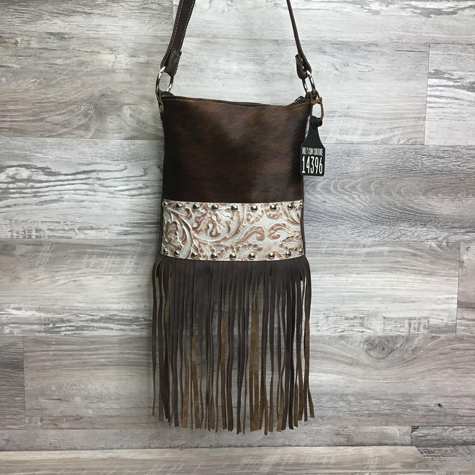 Sling Shot with bottom fringe and front studded embossed leather # 14396 - sk