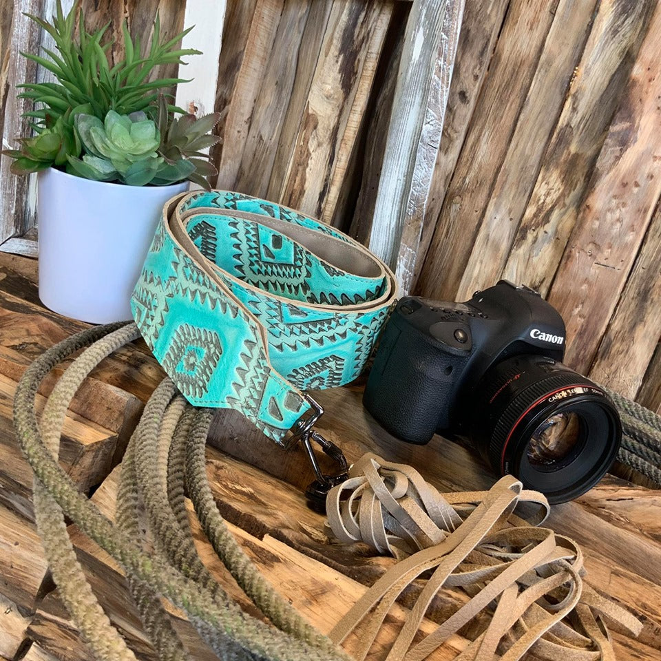 Camera Strap Sling Turquoise Aztec - 2.5