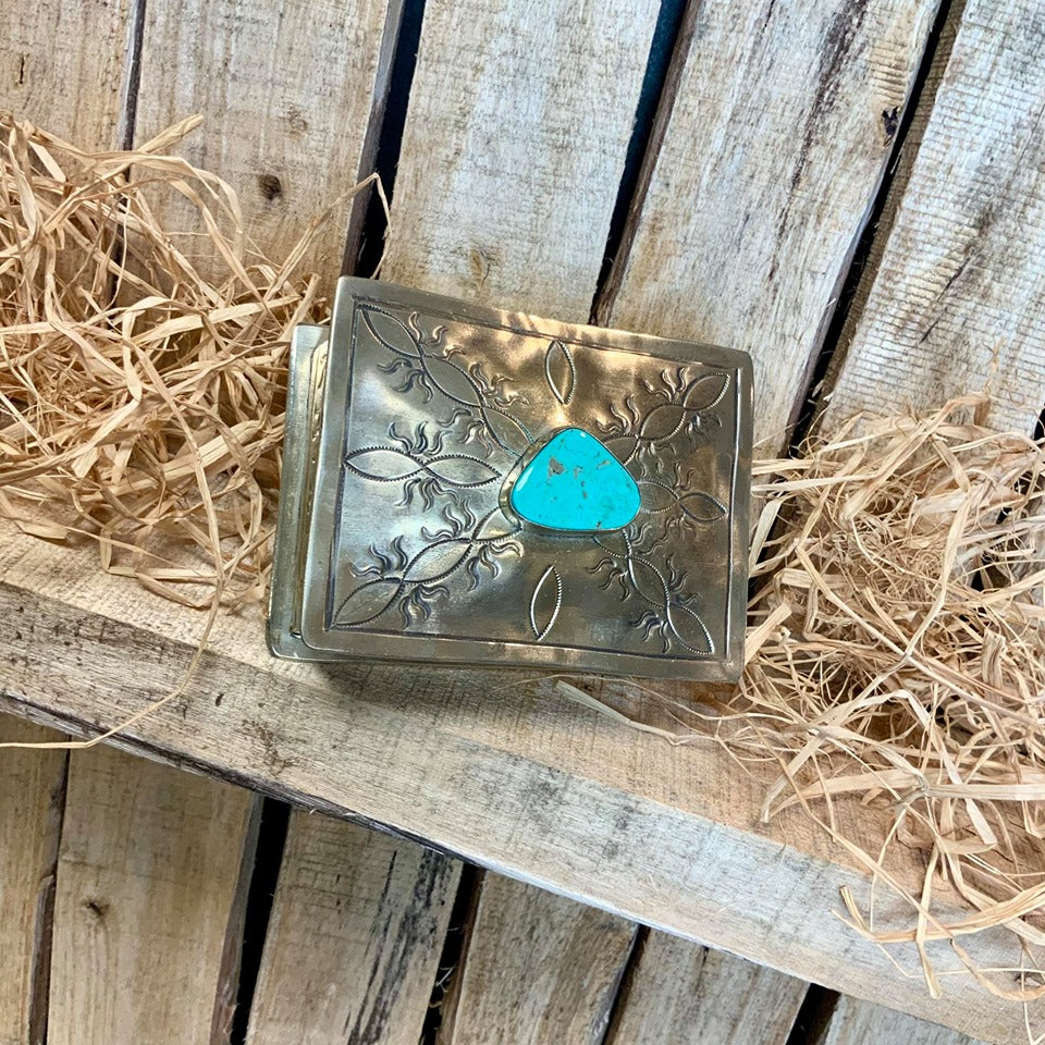 Small Stamped Wave Box with Turquoise
