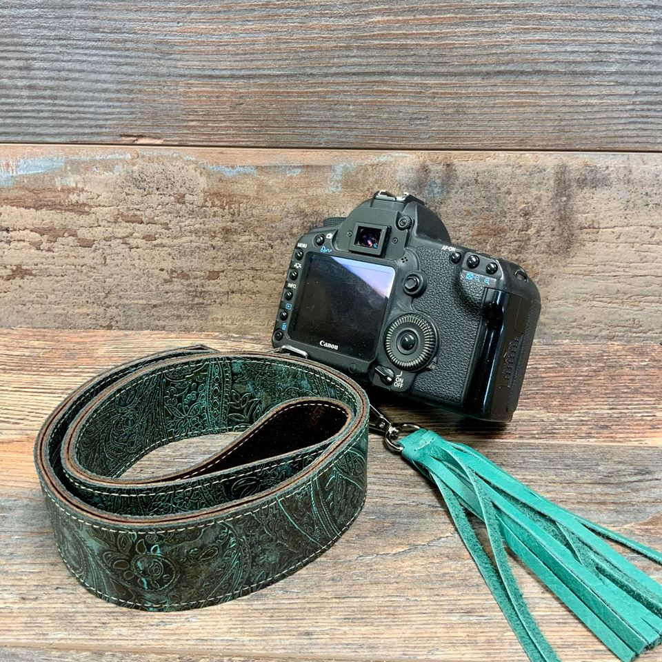 Camera Strap Sling Turquoise & Brown Paisley