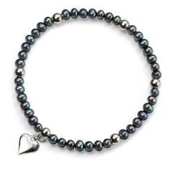 Black Pearl Stretch Bracelet with Silver Beads and Heart Charm