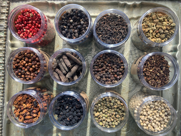 A variety of peppercorns at SOS Chefs