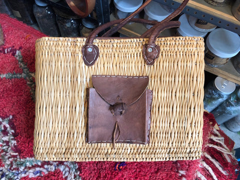 Vintage Woven Bag with Pocket, large