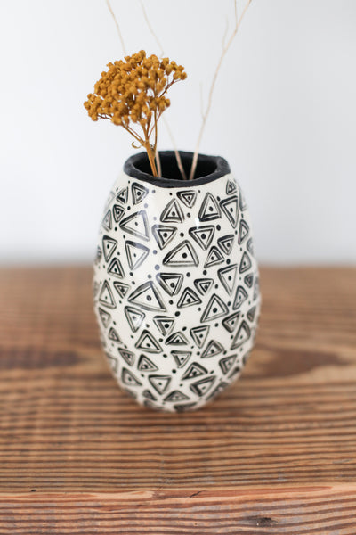 Bud Vase- Black Triangles
