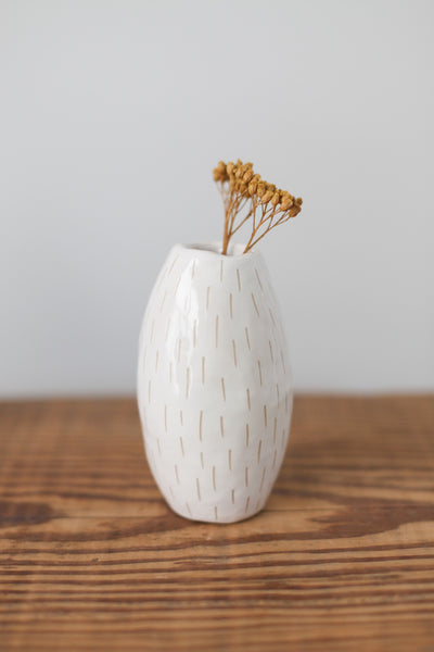 Bud Vase- White Carved Dashes