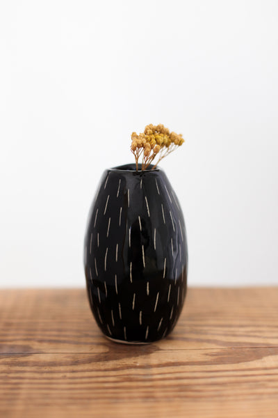 Bud Vase- Black Carved Dashes