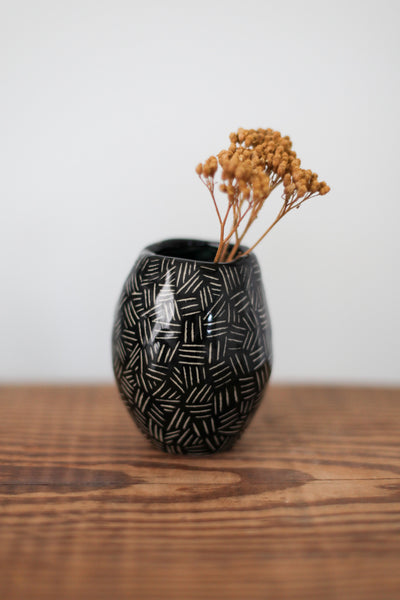 Small Bud Vase- Black Carved Dashes