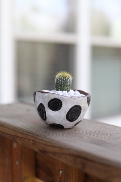 Mini Planter- Red stoneware dots