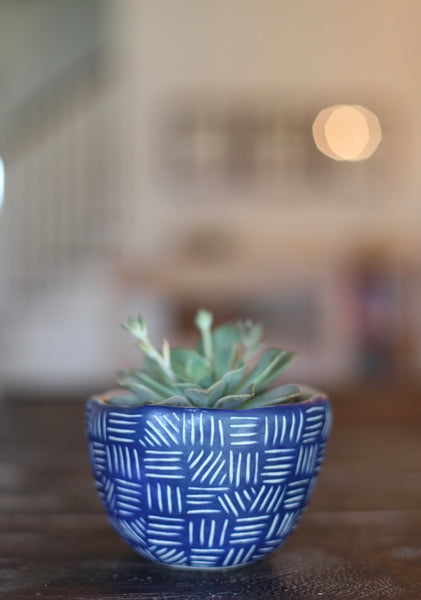 Medium Planter- Blue carved pattern