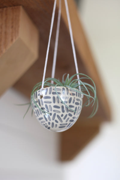 Hanging Planter- grey painted dashes