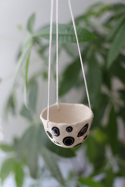 Hanging Planter- Black Dots