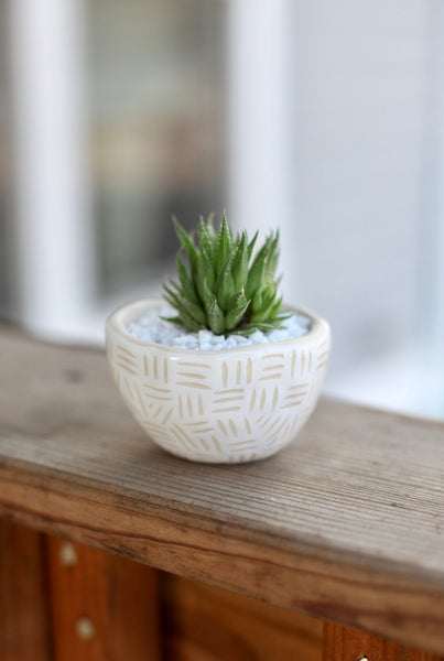 Mini White Planter- carved