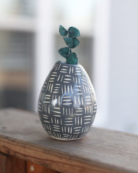 Bud Vase- grey carved pattern