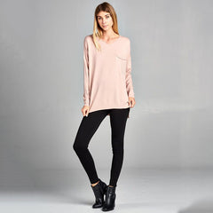 Nixon & Co Boutique -  dusty pink v-neck sweater