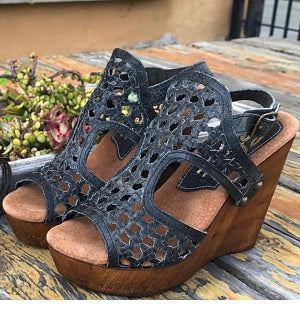 Slate Woven Leather Wedge Sandal - Nixon & Co Boutique