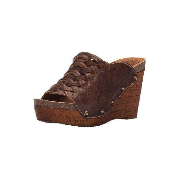 Brown Leather Platform Wedge Sandal - Nixon & Co Boutique