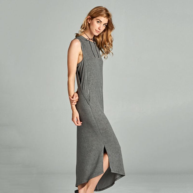 Charcoal Asymmetrical Ribbed Dress - Nixon & Co Boutique