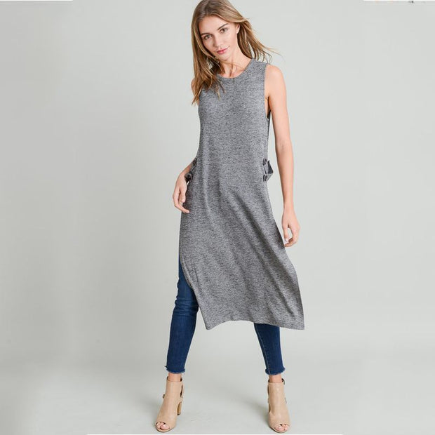 Charcoal Ribbed Long Shirt With Side Slit - Nixon & Co Boutique