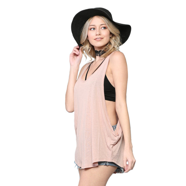 Dusty Rose Muscle Tank Top With Draped Side - Nixon & Co Boutique