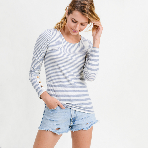 Grey Long Sleeve Stripe Top - Nixon & Co Boutique