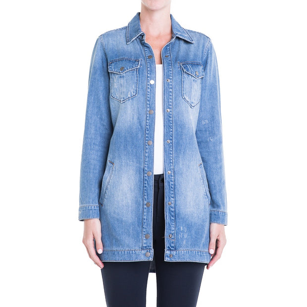 Denim Long Shirt Jacket - Nixon & Co Boutique