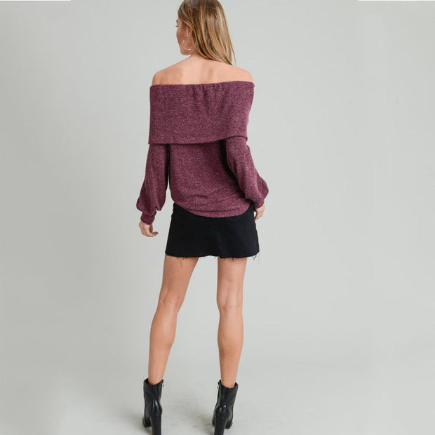 Off Shoulder Wine Sweater - Nixon & Co Boutique