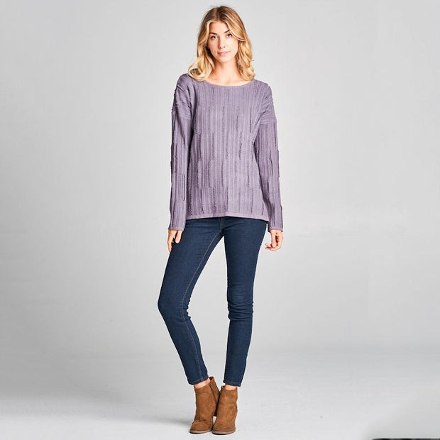 Purple Distressed Sweater - Nixon & Co Boutique