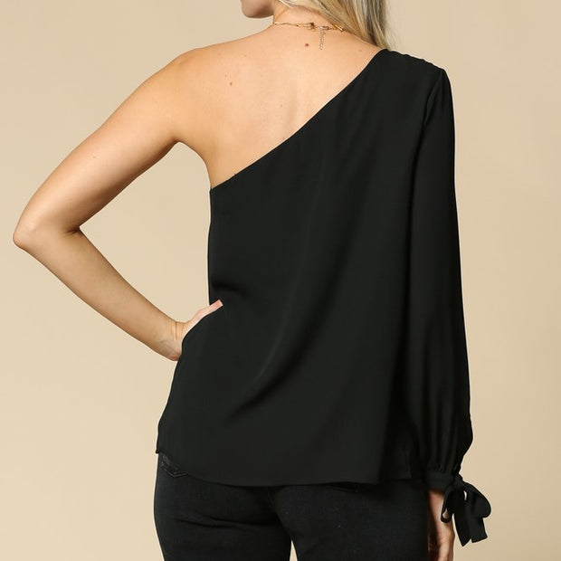 Pleated Black One Shoulder Top - Nixon & Co Boutique