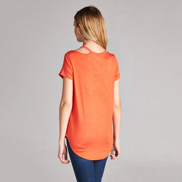 Coral Cold Shoulder Tee - Nixon & Co Boutique