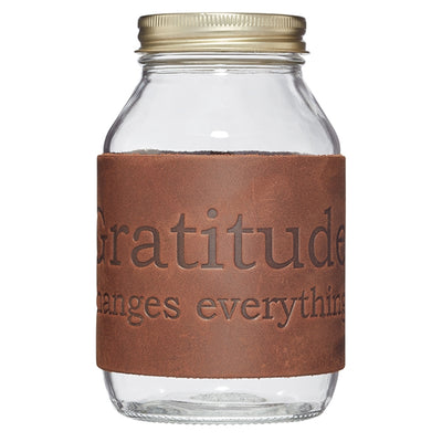 Gratitude Changes Everything Brown Leather Jar - Nixon & Co Boutique